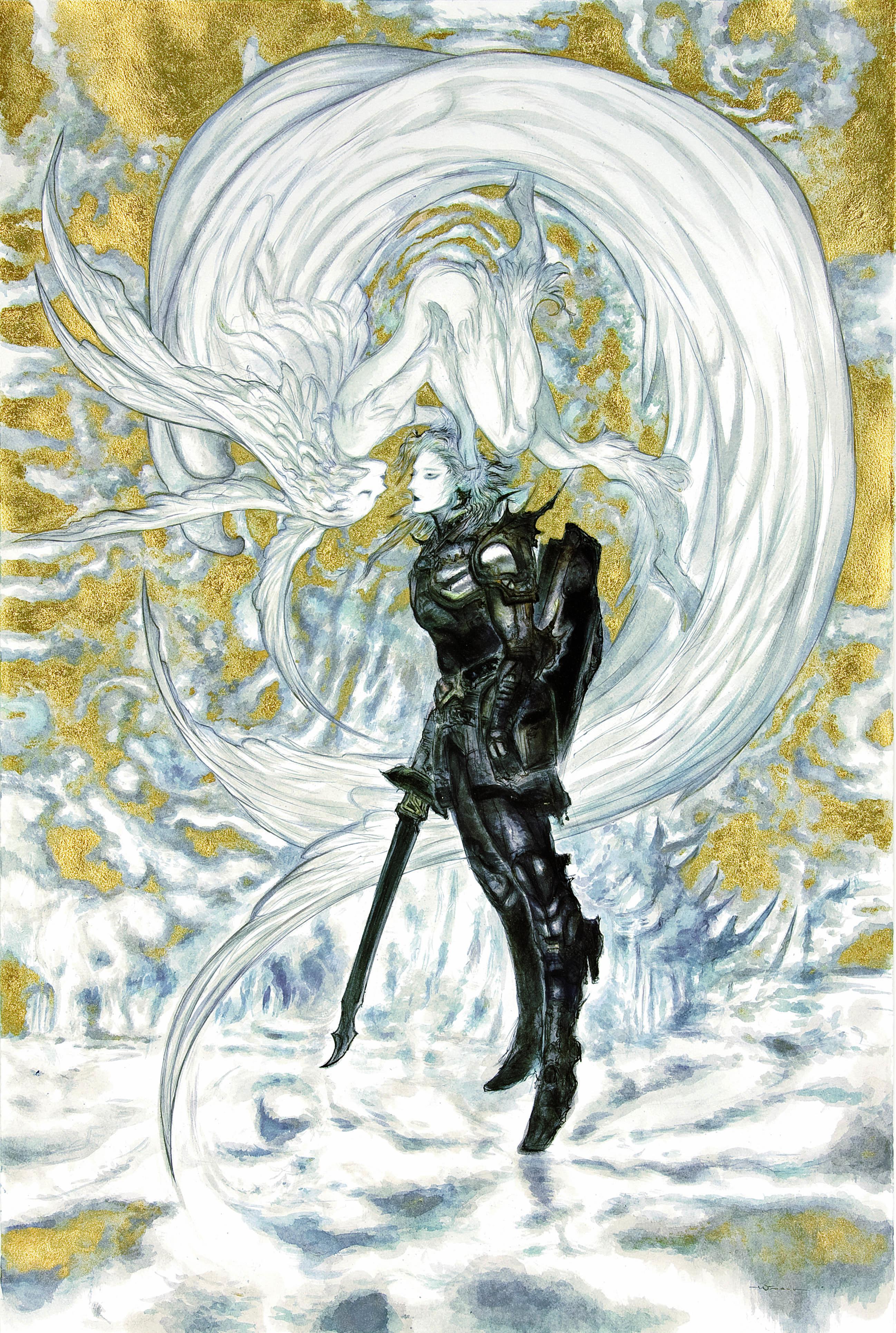 天野喜孝《ファイナルファンタジーXIV 嵐神と冒険者》2010年、アクリル・紙、個人蔵